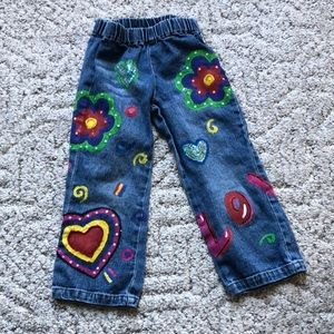 Kids hand painted jeans
